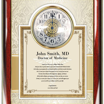 Medical School Graduation Clock Frame Gift