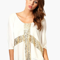 White Glitter Cross Print Tunic Top