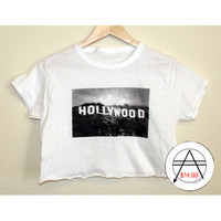 Hollywood Sign Crop Tee Shirt Croptop Los Angeles Cali California Hipster