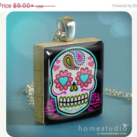 SALE PRICE - Sugar Skull (BLK) : pendant jewelry from a Scrabble tile. Necklace Scrabble piece. Home Studio jewelry gift present.