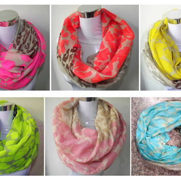 Neon Color Leopard Print Infinity Scarf Snood Women's Party Event Accessories Gift for Her  Free Shipping