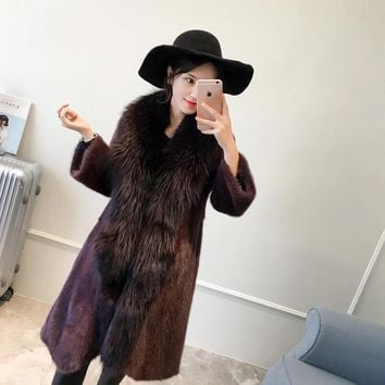 100%  Brand luxury real natural mink fur coat Plus big Silver Fox Fur Collar Plus Size Coats of  Warm mink coat for women coats