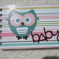 4x6 Baby Girl Owl Chipboard Mini Scrapbook
