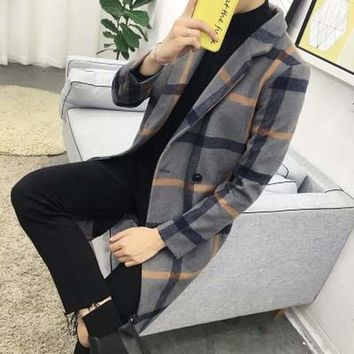 Casual New Plaid Long Wool Coat