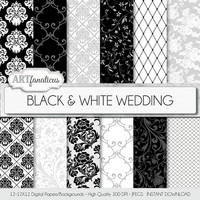 "Wedding digital paper ""BLACK & WHITE WEDDING"" elegant black and white wedding paper featuring damask, lace, floral patterns, and more"