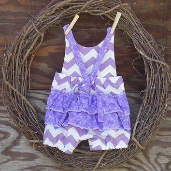 Girls Chevron Romper, Lilac and white, Ruffled Chevron romper, knot ties, Spring, Photo prop, size 6, 9, 12, 18 months