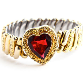 Vintage Red Stone Heart Expansion Bracelet - WWII 1940s Gold Filled Ruby Rhinestone Bracelet Signed Marvel Jewelry / Sweetheart Love