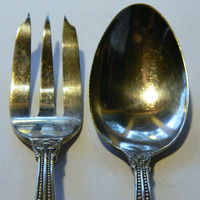 Vintage Holmes and Edwards Silver Plate Serving Fork and Spoon Set - Pattern Marina