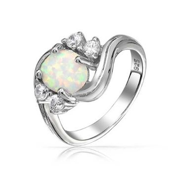 Bling Jewelry Vintage CZ Sterling Silver Opal Engagement Ring:Amazon:Jewelry