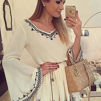 White Flowers Embroidery V-neck Bell Sleeve Chiffon Mini Dress