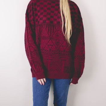Vintage Red Marled Aztec Knit Sweater
