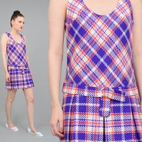 Vintage 60s Checkered Plaid SCOOTER Mod Twiggy School Girl 1960s Belted Dropped Waist Pleated Mini Dress White Purple Orange XS S