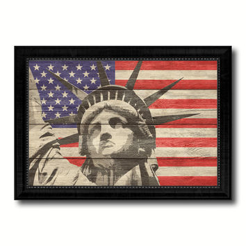 Statue of Liberty Flag Texture Canvas Print with Black Picture Frame Home Decor Man Cave Wall Art Collectible Decoration Artwork Gifts