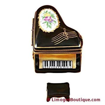 GRAND PIANO FLORAL WITH PORCELAIN BENCH LIMOGES BOX