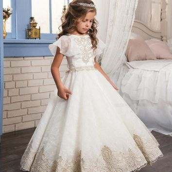 Abaowedding lace flower girl dress champagne kids graduation gowns children ball gown party dresses for girls pageant dresses