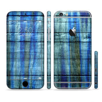 The Grungy Dark Blue Washed Wood Sectioned Skin for Most Mobile Devices (Choose your device)