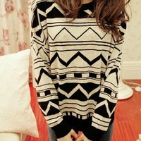 Jacquard Retro Irregular Geometric Figure Sweater