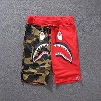 Bape Aape Camouflage Men Big Snark Shorts Contrast Shorts B/A Red
