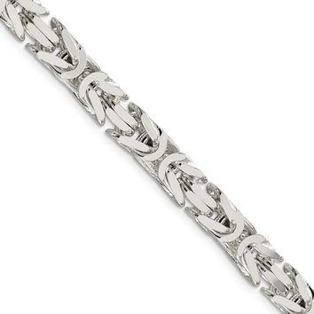 Mens 7.5mm Sterling Silver Square Solid Byzantine Chain Necklace