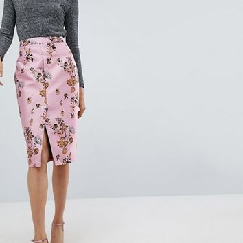 ASOS Floral Jacquard Pencil Skirt with Front Split at asos.com