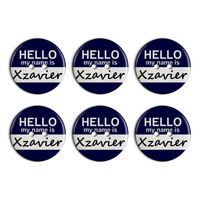 Xzavier Hello My Name Is Plastic Resin Button Set of 6