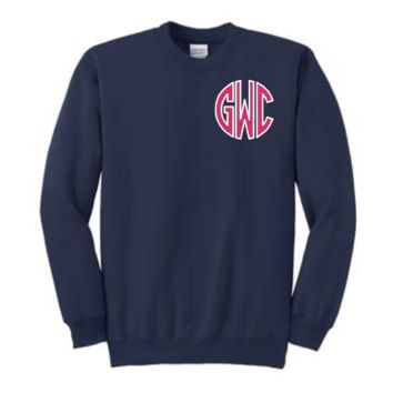 Chest Applique Monogrammed Crewneck Sweatshirt