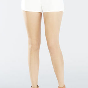 White BCBG Bryan Pull-On Track Shorts