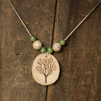 Wood Burned Tree Pendant with Jasper and Serpentine semiprecious stones on natural hemp cord necklace