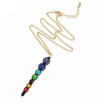 7 Chakra Energy Healing Reiki Pendant Necklace - Natural Stone Beads Hand woven