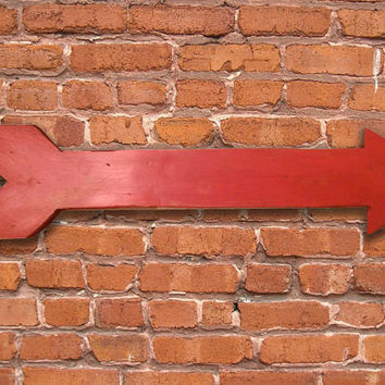 """Red distressed painted wooden arrow.  Approx. 24""""x6""""x.3/4"""".  Handmade"""