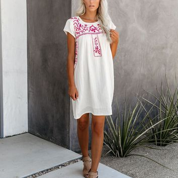 Breathtaking Cotton Embroidered Babydoll Dress