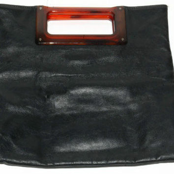 Vintage Black Leather Ande Tote, 1960's Tote, Lucite Handles
