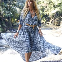 Blue Temple Maxi Dress – Bohemian Sundays