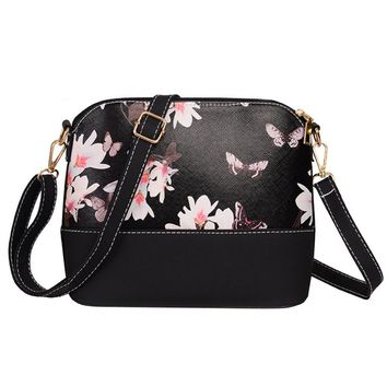women pu leather floral print handbag fashion shoulder satchel messenger bags clutch small travel crossbody bag bolsa feminina