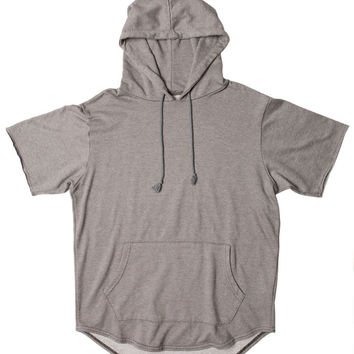Concrete French Terry Short Sleeve Curved Hem Hoodie