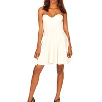 Strapless Padded Cup Skater Dress in White