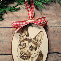 Christmas Ornament featuring German Shepherd Wood Burned into Basswood Oval