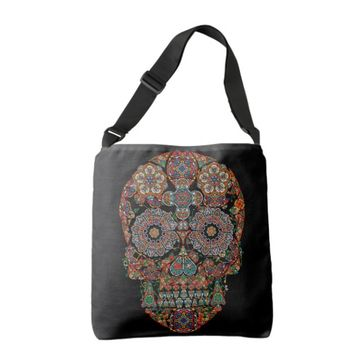 Colorful Flower Sugar Skull Tote Bag