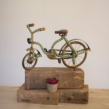 Decorative Ribbon Wrapped Bicycle With Antique Brass Frame