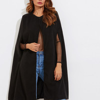 Wool Blend Cape Coat -SheIn(Sheinside)