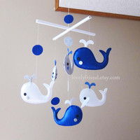 "Baby Mobile - Crib Baby Mobile - ""Happy Swimming Whales"" mobile  - Custom Nursery Mobile (Match your bedding)"