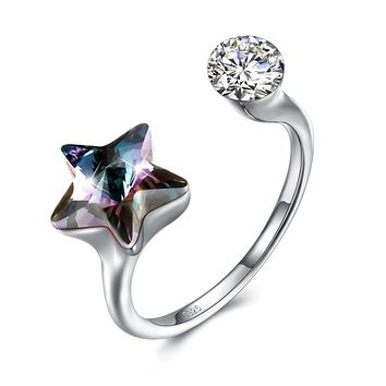 Black Sapphire Star Shaped Adjustable White Gold Ring