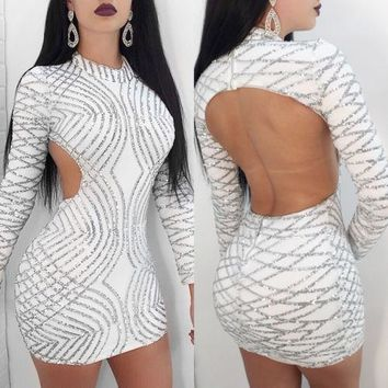 Sexy Womens Long Sleeves Sequins Clubwear Party White Backless Casual Short Mini Dress