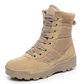 Military Tactical Combat Outdoor Sport Army Men Boots Desert Botas Hiking Autumn Shoes Travel Genuine Leather High Boots Male
