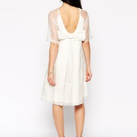 Candela Bow Dress with Sheer Detail