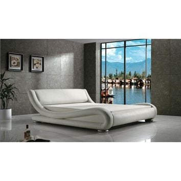 Queen Modern White Upholstered Platform Bed with Curved Sides & Headboard