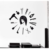 Vinyl Wall Decal Hair Salon Tools Hairdresser Woman Stylist Stickers Mural Unique Gift (ig5190)
