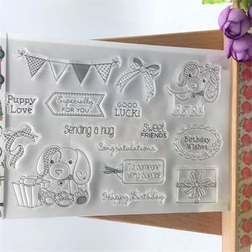 Good Luck Sweet Dog Transparent Clear Stamp DIY Silicone Seals Scrapbooking/Card Making/Photo Album Decoration Accessories