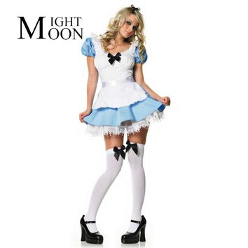MOONIGHT Light Blue Adult Maid Costumes Alice in Wonderland Costume Fancy Sweet Cosplay for Halloween
