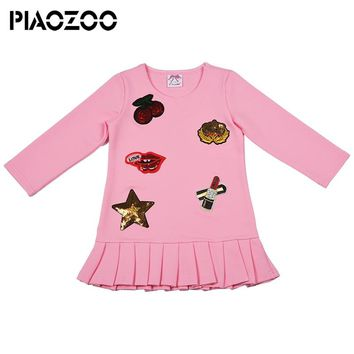 Long Sleeve autumn winter girls dresses 2018 school uniform girls kids toddler girl winter clothes Floral applique Fashion P25